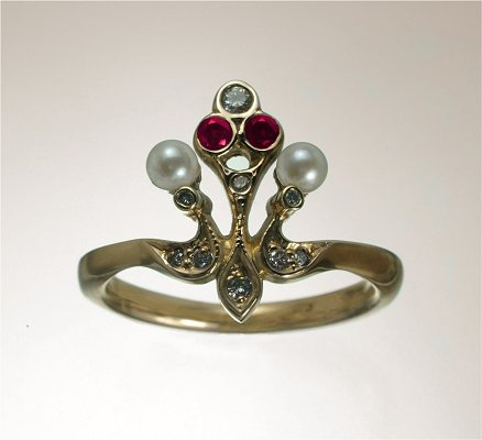 English renaissance gold diamond, ruby, fresh water pearl ring.