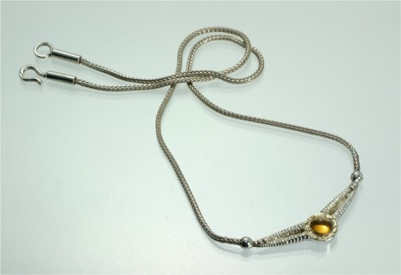 Natural twist secrets of the sea silver, gold & citrine necklace