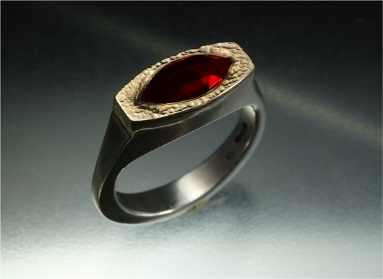 Classical antiquity sterling silver, gold & red garnet ring