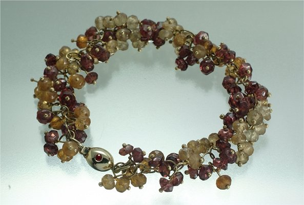 English renaissance gold red and yellow garnet ruby bracelet