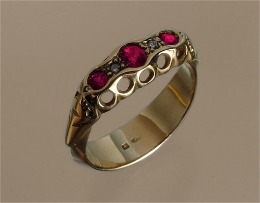 English renaissance gold pink sapphire & diamond ring.