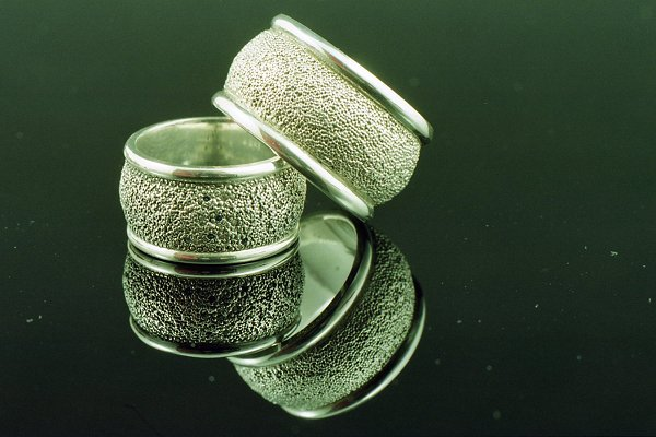 Sterling silver granulated rings