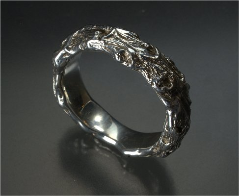 Natural twist gents sterling silver band