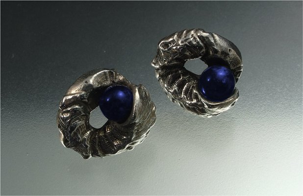 Natural twist sterling silver & lapis lazuli earrings